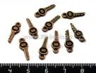 """Подвеска Ключ от """"английского"""" замка 15*5,5 мм, цвет медь, 10 шт/упак 017747 - 99 бусин"""