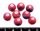 Бусина стеклянная круглая 10 мм ПЯТНЫШКИ Красный фон, синие пятна 8 шт/упак 018707 - 99 бусин