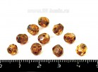 Бусина стеклянная граненая 6 мм, медовая прозрачная с покрытием 10 штук/упаковка ЧЕХИЯ 053854 - 99 бусин