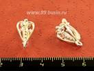 Швензы ювелирные Ажурное сердце 17*9 мм, посеребрение 12 мк , 1 пара, производство РОССИЯ 054211 - 99 бусин