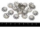 Шапочка для бусин Хризантема, 15*5 мм цвет никель 20 штук/упаковка 055728 - 99 бусин