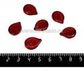 Бусина стеклянная Листик плоский с прожилками, 18*13 мм, цвет темно-красный, 6 штук/упаковка, ЧЕХИЯ 056470 - 99 бусин