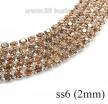 Стразовая цепочка 2 мм (ss6) цвет персиковый/серебристый Тайвань 0,5 метра 056595 - 99 бусин
