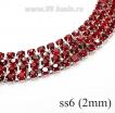 Стразовая цепочка 2 мм (ss6) цвет ярко-красный/серебристый Тайвань 0,5 метра 056598 - 99 бусин