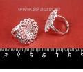 Основа для кольца с площадкой Цветок 22 мм, регулируемая, цвет светлое серебро 1 штука 057447 - 99 бусин