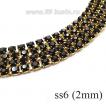 Стразовая цепочка 2 мм (ss6) цвет черный/латунный золотистый Тайвань 0,5 метра 058478 - 99 бусин