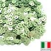 Пайетки 3 мм Италия плоские цвет 7021 Verde Metallizzati (Светло-зелёный металлик) 3 грамма (ок.1600 штук) 059211 - 99 бусин