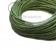 Шнур вощёный 1 мм зеленый/хаки в пасме, 100% хлопок около 73 метров 059300 - 99 бусин