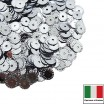 Пайетки 5 мм Италия рифлёные плоские цвет 1111 Argento Metallizzato (серебро металлик) 3 грамма 059617 - 99 бусин
