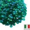 Пайетки 4 мм Италия чаша, цвет 7400 Verde Irise Trasparenti (Изумрудный прозрачный ирис) 3 грамма 059642 - 99 бусин