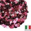 Микс пайеток БЕРГАМО (Плоские 3 мм 3071, 4071, 4161, 4 мм 396W. 436W) тёмный бордовый, розовый Италия 3 грамма 059828 - 99 бусин