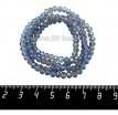 Бусина стеклянная на нити Мелкая грань 4*3,5 мм, цвет серо-голубая дымка/радужный, около 45 см/нить 060175 - 99 бусин