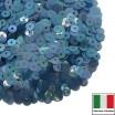 Пайетки Италия плоские 3 мм Blu Trasparente Iridato I12 (Светлый синий прозрачный радужный) 3 грамма 060643 - 99 бусин