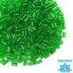 Стеклярус TOHO BUGLE 3 мм № 0007B тёмно-зелёный прозрачный 5 граммов Япония 060805 - 99 бусин