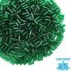 Стеклярус TOHO BUGLE 3 мм № 0939 тёмно-зелёный прозрачный 5 граммов Япония 060808 - 99 бусин