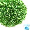 Стеклярус TOHO BUGLE 3 мм № 0027 весенний зеленый серебристое отверстие 5 граммов Япония 060844 - 99 бусин