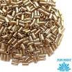 Стеклярус TOHO BUGLE 3 мм № 0989 прозрачный с золотистым отверстием 5 граммов Япония 060854 - 99 бусин