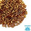Стеклярус TOHO BUGLE 3 мм № 0034 желто-коричневый серебристое отверстие 5 граммов Япония 060855 - 99 бусин