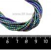 Натуральный камень ГЕМАТИТ с покрытием под ПИРИТ маленький цилиндрик 2*2 мм, цвет сине-зеленый мультиколор, 40 см/нить 061101 - 99 бусин