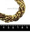 Натуральный камень ГЕМАТИТ с покрытием под ПИРИТ призма 5*3,5 мм, цвет античное золото, около 20 см/нить 061171 - 99 бусин