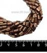 Натуральный камень ГЕМАТИТ с покрытием под ПИРИТ призма 6*4 мм, цвет шоколад, около 20 см/нить 061243 - 99 бусин