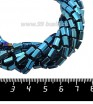 Натуральный камень ГЕМАТИТ с покрытием под ПИРИТ призма 6*4 мм, цвет синий, около 20 см/нить 061246 - 99 бусин