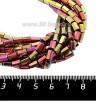 Натуральный камень ГЕМАТИТ с покрытием под ПИРИТ призма 6*4 мм, цвет золотисто-розовый мультиколор, около 20 см/нить 061252 - 99 бусин