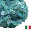 Пайетки Италия плоские 4 мм Turchese trasparente Iridato I15 (Бирюзовый прозрачный радужный) 3 грамма 061264 - 99 бусин