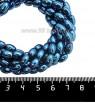 Натуральный камень ГЕМАТИТ с покрытием под ПИРИТ крупный рис 8*5 мм, цвет синий, 20 см/нить 061301 - 99 бусин