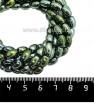 Натуральный камень ГЕМАТИТ с покрытием под ПИРИТ крупный рис 8*5 мм, цвет голубовато-зеленый мультиколор, 20 см/нить 061302 - 99 бусин