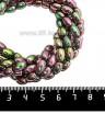 Натуральный камень ГЕМАТИТ с покрытием под ПИРИТ крупный рис 8*5 мм, цвет розово-зеленый мультиколор, 20 см/нить 061303 - 99 бусин