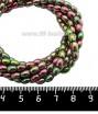 Натуральный камень ГЕМАТИТ с покрытием под ПИРИТ рис 5,5*4 мм, цвет розово-зеленый мультиколор, 40 см/нить 061364 - 99 бусин