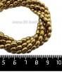Натуральный камень ГЕМАТИТ с покрытием под ПИРИТ рис 5,5*4 мм, цвет темное античное золото, 40 см/нить 061366 - 99 бусин