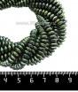 Натуральный камень ГЕМАТИТ с покрытием под ПИРИТ спейсер 6*3 мм, цвет голубовато-зеленый мультиколор, 20 см/нить 061425 - 99 бусин