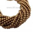 Бусина стеклянная жемчуг на нити 4 мм цвет матовый карамельно-коричневый Чехия 60 штук 061472 - 99 бусин
