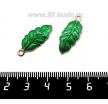 Подвеска Лист, 24*10 мм, цвет розовое золото, зеленая эмаль, 1 штука 061625 - 99 бусин
