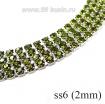 Стразовая цепочка 2 мм (ss6) цвет лайм/серебристый Тайвань 0,5 метра 061660 - 99 бусин
