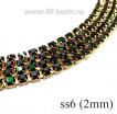 Стразовая цепочка 2 мм (ss6), цвет темно-зеленый мох/латунный золотистый Китай 0,5 метра 061662 - 99 бусин