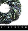 Натуральный камень ГЕМАТИТ форма Звездочка 6*2 мм, покрытие голубовато-зелёный мультиколор, около 20 см/42 шт/нить 061679 - 99 бусин