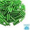 Стеклярус TOHO BUGLE 9 мм № 0027B зеленый серебристое отверстие 5 граммов Япония 061736 - 99 бусин