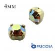 Шатоны (стразы) PRECIOSA пришивные хрустальные, размер ss-16 (4 мм), цвет Topaz AB/gold, 10 штук/упаковка, Чехия 061818 - 99 бусин