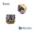 Шатоны (стразы) PRECIOSA пришивные хрустальные, размер ss-16 (4 мм), цвет Violet/gold, 10 штук/упаковка, Чехия 061834 - 99 бусин