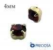 Шатоны (стразы) PRECIOSA пришивные хрустальные, размер ss-16 (4 мм), цвет Siam/gold, 10 штук/упаковка, Чехия 061841 - 99 бусин