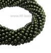 Бусина стеклянная жемчуг на нити 3 мм цвет теплый мох Чехия 75 штук 061890 - 99 бусин