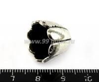 Колпачок Гигант Дольки, 16*17 мм, цвет старое серебро 1 штука 010011 - 99 бусин