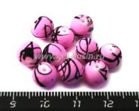 Бусина стеклянная круглая 8 мм Граффити светло-розовая 10 шт/уп 010834 - 99 бусин