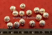 Бусина металлическая  Ажурная 6 мм светлое серебро 15 штук/упак 010913 - 99 бусин