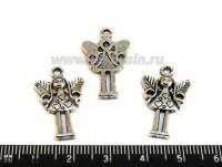 Подвеска Девочка ангел 36*24 мм цвет старое серебро 1 штука 011062 - 99 бусин