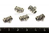 Бейл Завитки цвет старое серебро 5 штук/упаковка 011606 - 99 бусин