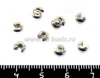 Крышечки кримпов 3 мм цвет никель 20 штук/упаковка 012092 - 99 бусин